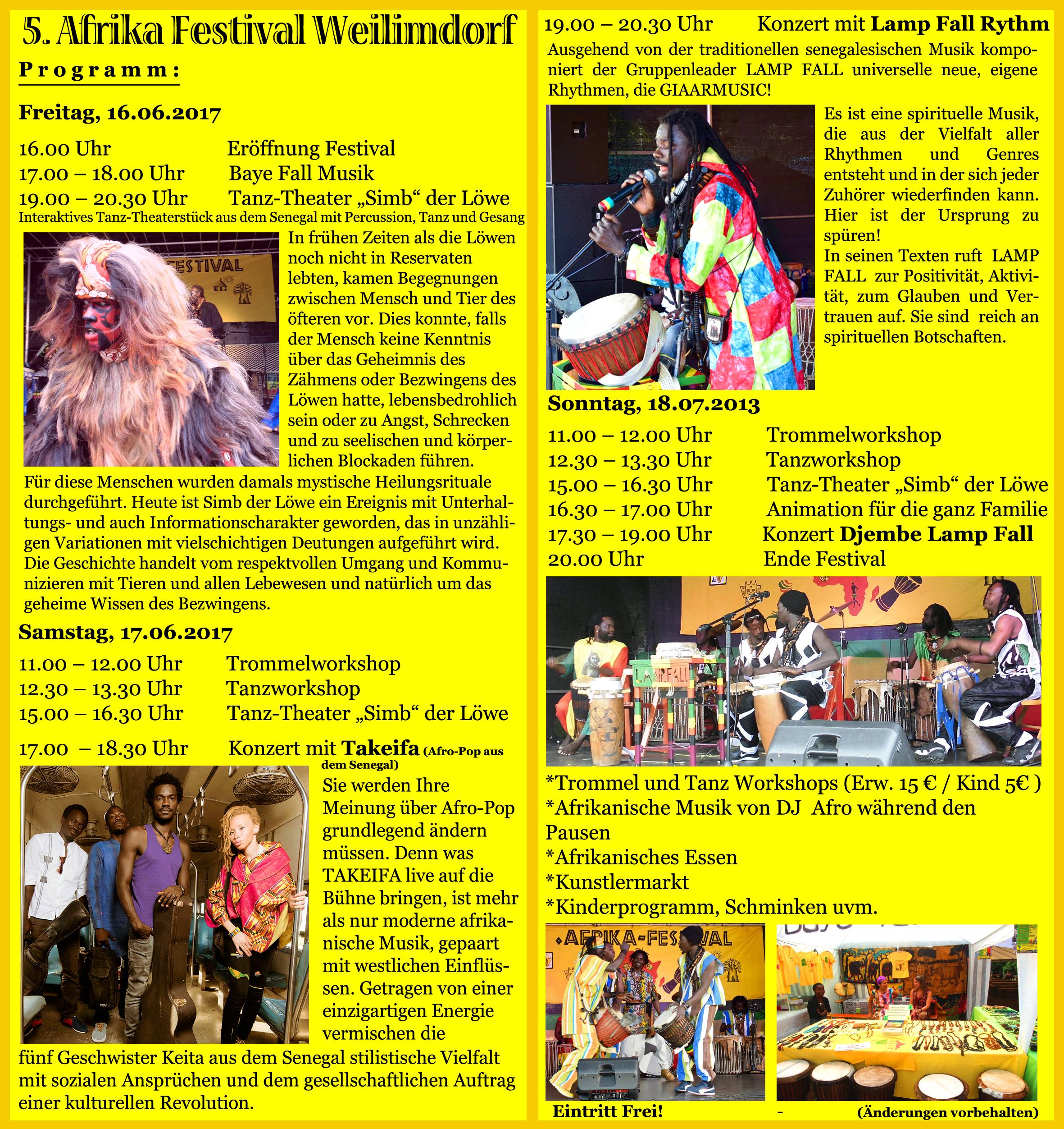 Flyer 5. Afrika Festival Weilimdorf 2017 innen